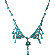 Antique Persian Turquoise Necklace Silver Lavalier Chain Necklace