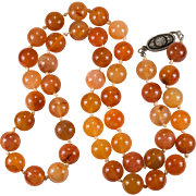 Natural Carnelian Necklace Sterling Orange Carnelian Agate Bead Beaded Necklace