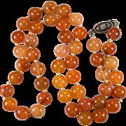 Natural Carnelian Necklace Sterling Orange Carnelian Agate Bead Beaded Necklace