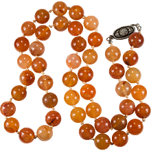 Natural Carnelian Necklace Sterling Beaded Carnelian Agate Necklace