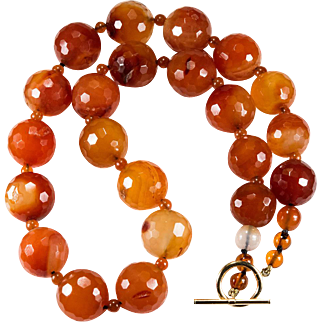 Natural Carnelian Necklace 14k Gold Faceted Agate Bead Beaded Necklace