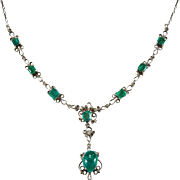 Lavalier Emerald Diamond Necklace 14k Gold Old Rose Cut Diamond Emerald Hand Crafted Necklace