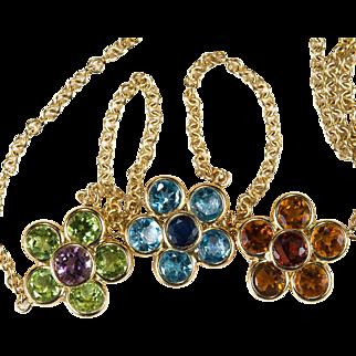 Sapphire Topaz Peridot Garnet Citrine Flower Necklace 14k Gold Mixed Gemstone Bezel Set Chain