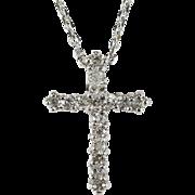 Natural Diamond Necklace 14k Gold Cross Link Chain Diamond Cross Pendant