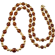 Natural Baltic Amber Gold Beaded Necklace 14k Gold Amber Beaded Strand