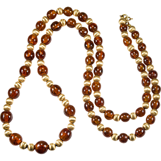 Natural Baltic Amber Necklace 14k Gold Amber Beaded Strand