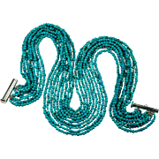Turquoise Necklace 925 Sterling M & J Savitt Turquoise Torsade