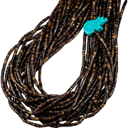 Turquoise Bear Fetish Heishi Bead Strand Necklace