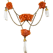 Antique Carved Coral Roses Pearl Festoon Necklace 14k Gold Coral Necklace