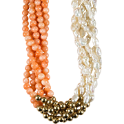 Natural Coral Gold Bead Japanese Rice Pearl Strand 14k Gold Coral Necklace