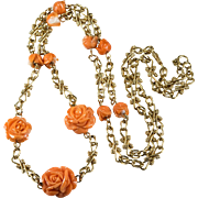 "31"" Natural Carved Coral Rose Chain 14K Gold Link Chain Coral Necklace"