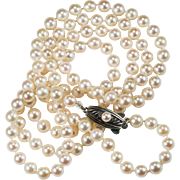 Mikimoto Pearl Necklace Opera Length 6mm Signed Sterling Pearl Clasp Cultured Pearl Strand