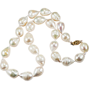 Genuine South Sea Baroque Pearl Necklace 14k Gold Choker
