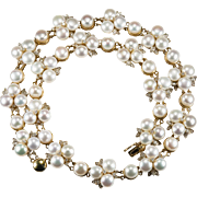 Button Pearl Diamond Necklace 14k Gold Hong Kong Pearl Necklace