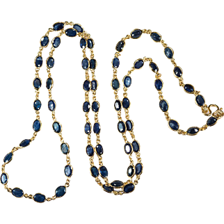 47.25ctw Bezel Set Sapphire Chain 14k Gold Sapphire By The Yard Chain Necklace