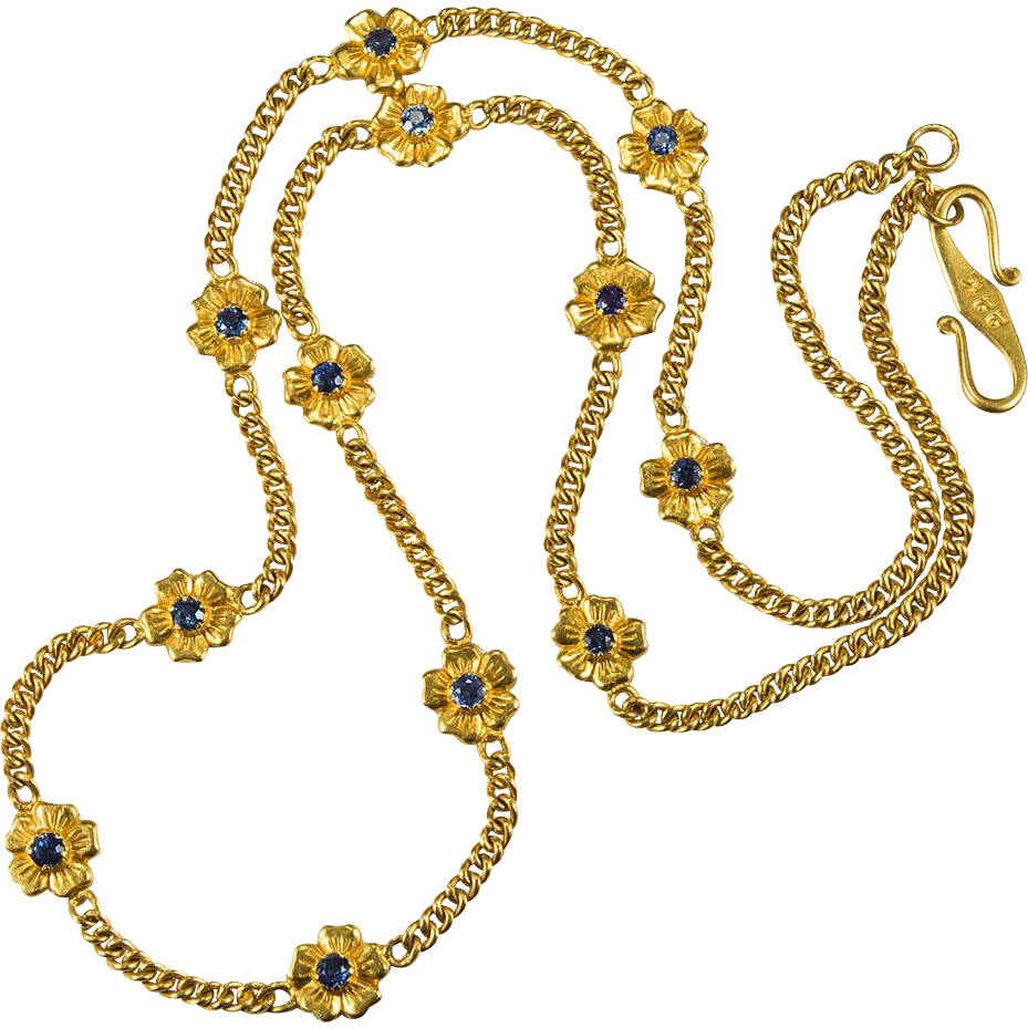 Pansy sapphire chain 22k gold bezel set gemstone chain for 22k gold jewelry usa