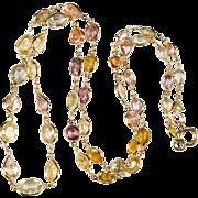 Mixed Sapphire Bezel Set Chain 750 18k Gold Natural Corundum Sapphire Necklace
