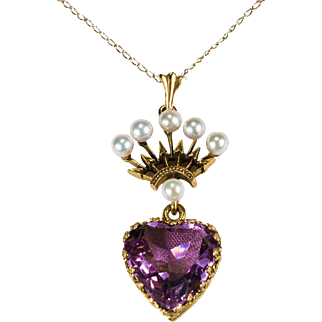 Amethyst Heart Necklace 14k Gold Pearl Crowned Heart Amethyst Pendant