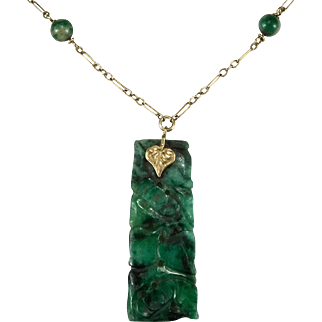 Antique Carved Jade Pendant 14k Gold Berry Leaf Natural Jade Necklace Paperclip Chain