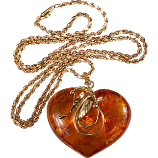 Russian Baltic Amber Heart Pendant Rose Gold 14k Gold Chain Natural Amber Necklace