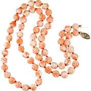 Carved Coral Roses Necklace 14k Gold Natural Coral Strand Salmon Pink Coral