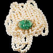 """Natural Jade Pearl Necklace 14k Gold 38"""" Myanmar Jade"""