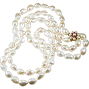 Ruby South Sea Baroque Pearl Necklace 14k Gold Double Strand Pearl Necklace