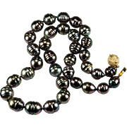 Tahitian Peacock Baroque Pearl Necklace 14k Gold Cultured Tahitian Pearl Strand