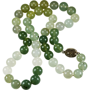Vintage Chinese Mixed Mutton Fat Jade Necklace Sterling Natural Jade Beaded Necklace