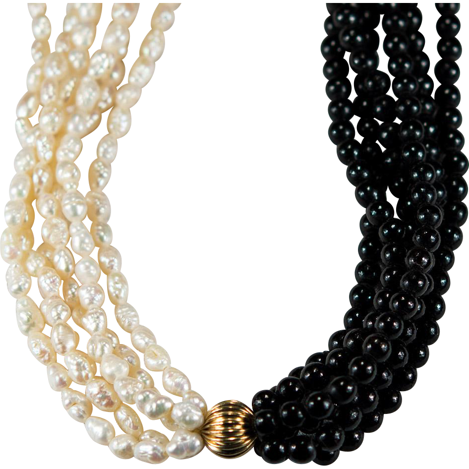 Natural Black Coral Rice Pearl Necklace 14k Gold Choker Beaded Strand Pearl  Coral Necklace