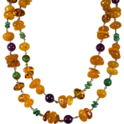 "Natural Amber Turquoise Sugalite 14k Gold 40"" Opera Length Amber Necklace"