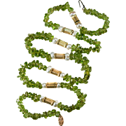 Natural Peridot Baroque Pearl Strand 14k Gold Beaded Necklace Peridot Strand Peridot Necklace