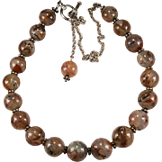 Large Natural Moss Agate Sterling Silver Beaded Agate Necklace