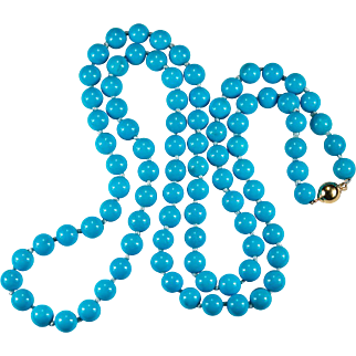 Persian Turquoise Necklace 14k Gold Beaded Necklace