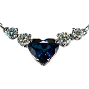 Heart Sapphire Diamond Necklace 2ctw 18k Gold Natural Diamond Sapphire Necklace