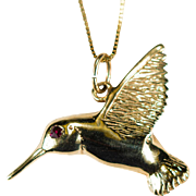 Ruby Hummingbird Pendant 14k Gold Hummingbird Bird Necklace