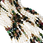 Opera Length Tourmaline Freshwater Pearl Necklace 585 14k Gold 5 Strand