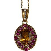 Natural Ruby Citrine Diamond Necklace 10k Gold Mixed Gemstone Pendant Chain