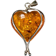Natural Russian Baltic Amber Heart Pendant 925 Sterling Hand Crafted