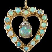 Natural Opal Diamond Heart Pendant 14k Gold Pendulum Opal Heart
