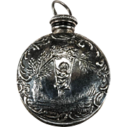 Swinging Cherub Perfume Bottle Pendant Sterling Silver Double Sided Bottle