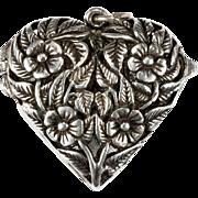 Pansy Flower Heart Vinaigrette 925 Sterling Silver Locket Puffy Heart Perfume Pendant