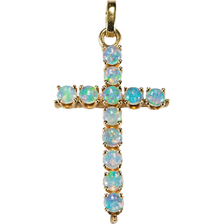 SALE Natural Opal Cross Pendant 14k Gold Solid Opal