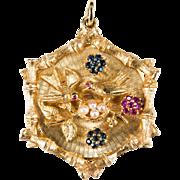Vintage Sapphire Ruby Pearl Pendant 14 Gold Bird Jeweled Charm Pendant