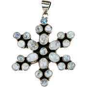 Natural Moonstone Snowflake Pendant 925 Sterling Silver Necklace Pendant