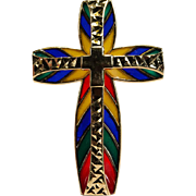 Vintage Michael Anthony Plique A Jour Rainbow Cross Pendant 14k Gold Enamel Cross