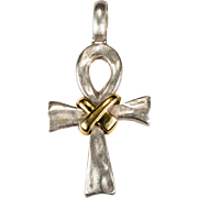 Egyptian Ankh Cross Sacral Knot 750 18k Gold 925 Sterling Silver Hand Wrought Pendant