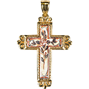 Michael Anthony Porcelain Rose 14k Gold Cross Pendant