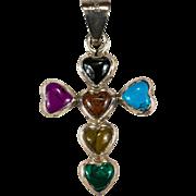Mixed Stone Heart Pendant 925 Sterling Heart Cross Pendant