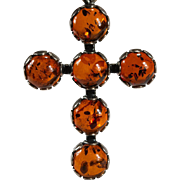Natural Baltic Amber Pendant 925 Sterling Silver Amber Cross